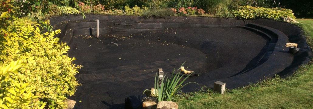 Waterproof coating pond