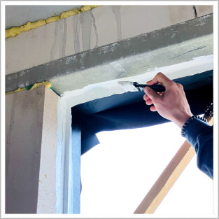 white coating window frames